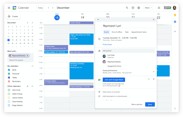 reuniones en google calendar